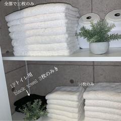 シンプルインテリア/スッキリ収納/モノトーン収納/脱衣所収納/Rakuten/楽天room/... うちは、洗面所に大きな物入れをつくって …