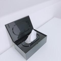 山崎実業 コットン&綿棒ケース ヴェール ブラック(綿棒、コットンケース)を使ったクチコミ「●タワー● 除菌シート入れに使ってます。…」(1枚目)