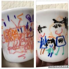 食器 マグに去年(孫5歳)に書いた絵を描き写し…(1枚目)