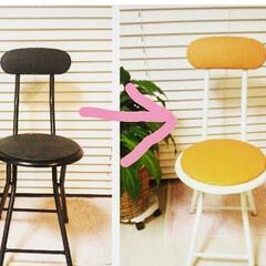 椅子 /椅子リメイク/DIY 以前ボロボロだった黒の椅子を塗り替えた時…
