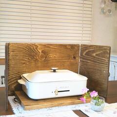 油跳ねガード/油跳ね/DIY/キッチン雑貨/雑貨 以前、端材で作った油跳ねガードです~💕✨…