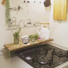 ナチュラルキッチン/棚DIY/棚/DIY/キッチン雑貨/雑貨/... ***簡単DIY*** 以前作った棚です…