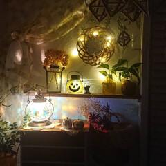 イシグロ 照明器具 21207 モザイクランプ クリムト ランタン型 グリーン(デスクライト)を使ったクチコミ「最近涼しくなってきたのでインテリアも秋に…」
