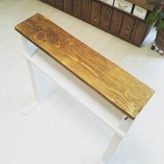 木材/施設暮らし/テーブルDIY/DIY/介護用品/サイドテーブル/... 以前祖母にプレゼントしたベッド横に置くテ…(2枚目)