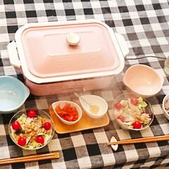 ブルーノ ホットプレート用 セラミックコート鍋 BRUNO コンパクトホットプレート オプション 鍋 深鍋 セラミックコート 煮物 シチュー | BRUNO(ホットプレート)を使ったクチコミ「具をたっぷり入れたブルーノホットプレート…」(1枚目)