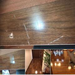 床/床リペア/フローリング/ハウスクリーニング/お掃除/WAX 床 リペア  後の  WAXでこんなにき…