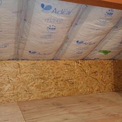 日曜大工/小屋裏/屋根裏収納/屋根裏/屋根裏部屋/OSB合板/... 屋根裏部屋diy OSB合板を貼りました