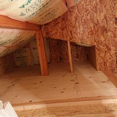 改装/屋根裏/小屋裏/建売/建売住宅/収納/... 屋根裏部屋diy OSB貼りました コロ…
