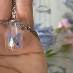 妖精標本商会/minne/シースルーの翅の妖精/ネックレス/母の日/手作りアクセ 我が愚作ではありますが、手作りアクセサリ…