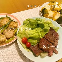 ステーキ/二人ご飯/二人暮らし/献立/晩ご飯/夕飯 今日の晩ご飯  *肩ロースステーキ *…