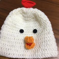 鍵網/編み物/にわとり/ニット帽/ベビー用品/ハンドメイド/... 赤ちゃん用のニット帽を 編みました🐓