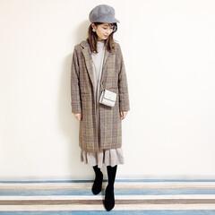 グレイル/ママ/キャスケット帽/ファッション/ママコーデ/アラフォー/... 🧸ワンピースコーデ🧸 ショルダーバッグお…