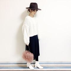 ファッション/おすすめアイテム/ママ/ママコーデ/annaママの高見えコーデ/ホワイトブーツ/... 🧸つば広ハットコーデ🧸 つば広帽子はディ…(2枚目)