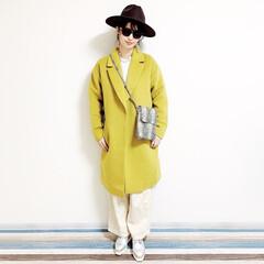 ファッション/おすすめアイテム/annaママの高見えコーデ/カラーコーデ/カラーコート/パイソン柄/... 🧸通勤コーデ🧸 久しぶりにパンツの気分🎶…