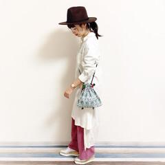 アラフォーママ/アラフォーコーデ/30代コーデ/30代/ローポニー/パンツスタイル/... 🧸タイのお土産🇹🇭🧸 可愛いバッグはタイ…
