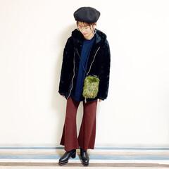 オトナファッション/オトナ女子/眼鏡/メガネ/帽子好き/帽子コーデ/... 🧸通勤コーデが 一日雨な日。 寒いからあ…(1枚目)