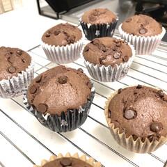 朝ごはん/おうちカフェ/手作りおやつ/チョコマフィン/おうちごはん/100均 娘の好物、チョコマフィン。 もう100回…(1枚目)