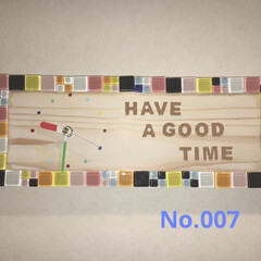 掛時計/ダイソー/100均/DIY/雑貨/ハンドメイド/... No.007 杉板にダイソーのガラスタイ…