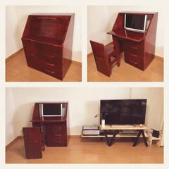 家具/パソコンデスク/パイン集成材/ライティングビューロー/収納 リビングにPCデスクが似合わないのでデス…