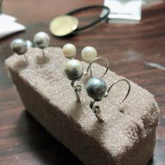 ユザワヤ/真珠/アクセサリ/ピアス/ファッション/DIY/... くず真珠でピアスを簡単DIY!  色が濁…