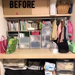 押し入れ収納/使いやすくしまいやすく/幼稚園身支度 押し入れの中を改良しました。 以前は、 …(2枚目)