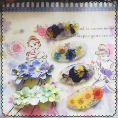 手作りアクセ 【レジン、造花のバレッタ】