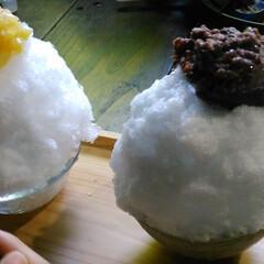 はじめてフォト投稿/かき氷 七滝で食べた天然氷のかき氷。ふわふわ。オ…