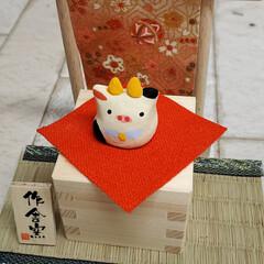 干支飾り 干支飾りが出来ました。 小さな枡を作り牛…(4枚目)
