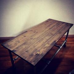 パイン材/ワトコオイル/インダストリアル/ガス管/DIY パイン集成材とガス管を使ってローテーブル…