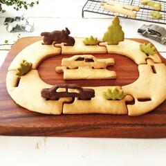 パズルクッキー/マクロビクッキー/車/バイク/BIRKMAN/グルメ 道路の形のパズルクッキーを作りました。 …(1枚目)
