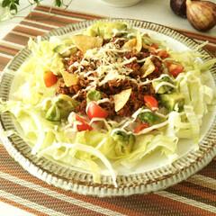 タコライス/タコスミート/夏ごはん ごはんにタコスミートや野菜をトッピングす…