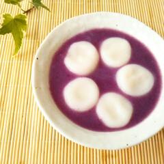 手作りおやつ/紫芋パウダー/白玉団子 紫芋の旬はもう少しあとなのですが、秋にな…
