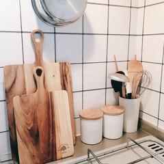 ワンルームインテリア/ワンルーム/キッチン収納アイデア/キッチン収納/キャニスター/一人暮らしインテリア/... さいきんのキッチン風景。だいたい白と木で…