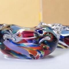 テーブルアイテム/さわやか/おしゃれ雑貨/かわいい/箸置き/ガラス/... ガラスの箸置き✨ マーブルな虹色カラー🙆…