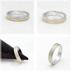 指輪/かわいい/プレゼント/記念日/ペアリング/ジュエリー/... プラチナ &ゴールド 2つの地金を使った…