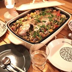 iittala イッタラ ティーマ Teema プレート 21cm ドッテドグレー | イッタラ(皿)を使ったクチコミ「お魚屋さんで新鮮な鯛がお安かったのでアク…」