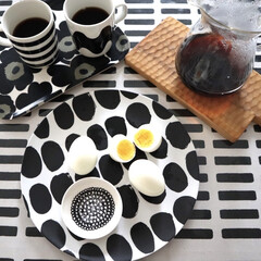 KINTO コーヒーカラフェセット SCS-04-CC 600ml 27621 | キントー(ナプキン)を使ったクチコミ「朝ごはんにゆで卵🥚 レンジで作れるゆで卵…」