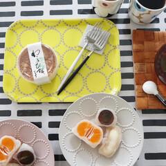 マリメッコ マグカップ コップ 250ml 食器 UNIKKO ウニッコ ベージュ×グレー 63431 890 名入れ可有料 | marimekko(マグカップ)を使ったクチコミ「少し前のおやつ 初めて食べた一心堂さんの…」