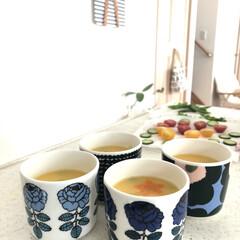 ラテマグ 単品 マリメッコ Siirtolapuutarha シイルトラプータルハ ドット柄 コーヒーカップ ハンドルなし | marimekko(カップ、ソーサー)を使ったクチコミ「こどもの日  今日のメニューはちらし寿司…」
