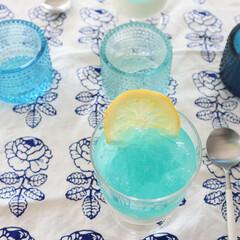 iittala イッタラ Kastehelmi カステヘルミ キャンドルホルダー 64mm ライトブルー | イッタラ(皿)を使ったクチコミ「てづくりのゼリー💙 かき氷のブルーハワイ…」
