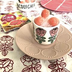 マリメッコ/おうちカフェ/アイスの実/かき氷/おやつ すこしまえのおやつ😋 かき氷にアイスの実…