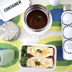 弁当箱 ネイビー ランチチャイム コンテナ ランチボックス L CNT-750(弁当箱)を使ったクチコミ「今日のお昼ごはん🥪 ゆで卵で簡単にたまご…」