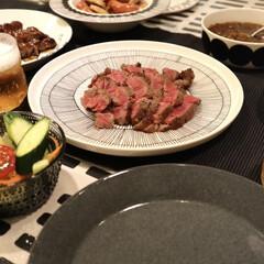 iittala イッタラ ティーマ Teema プレート 21cm ドッテドグレー | イッタラ(皿)を使ったクチコミ「昨日の夜ごはん🥩  焼肉食べにいきたいけ…」