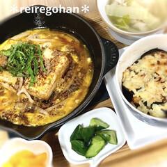 スキレット 20cm オレンジ | ル・クルーゼ(スキレット)を使ったクチコミ「晩ごはん ⭐️まきこさんの豆腐ステーキ …」(1枚目)
