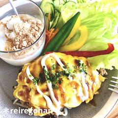 木村硝子店×イイホシユミコ dishes 180 plate   木村硝子(お子様プレート、皿)を使ったクチコミ「朝ごぱん ⭐️もやしdeオムそば風 ⭐️…」