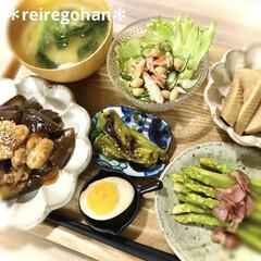カネコ小兵製陶所 リンカ 17cmプレート(皿)を使ったクチコミ「晩ごはん ⭐️鶏肉と茄子の黒酢あんかけ …」