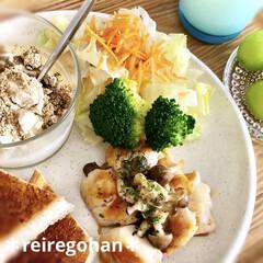 アミューズ・ブッシュ ボデガ 7.10860(皿)を使ったクチコミ「朝ごぱん ⭐️鶏ささみのチーズ焼き ⭐️…」(2枚目)