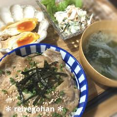 カネコ小兵製陶所 リンカ 12cmボウル(その他食器、カトラリー)を使ったクチコミ「晩ごはん🍚  ⭐️豚丼 ⭐️玉子の巾着 …」