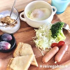 iittala イッタラ カルティオ Kaltio タンブラー グラス 210ml アクア 2個セット | イッタラ(タンブラー)を使ったクチコミ「朝ごぱん ⭐️全粒粉パンのチーズトースト…」
