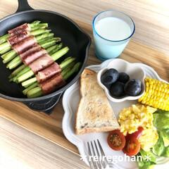 ル・クルーゼ フリル・プレート 中皿 シェルピンク 18cm | Le Creuset(皿)を使ったクチコミ「朝ごぱん🍞 ⭐️ライ麦パン ⭐️スクラン…」